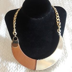 PASSIANA  LEATHER AND GOLD STATEMENT NECKLACE